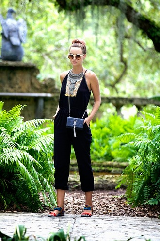 jumpsuit shoes bag jewels sunglasses round sunglasses statement necklace necklace sandals clutch blogger yves saint laurent statement jewelry silver necklace