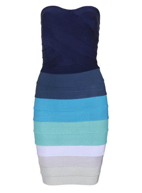 Blue ombre strapless bandage dress h589b $109