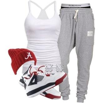 pants grey sweatpants boyfriend sweats baggy sweatpants white tank top lazy day tank top hat underwear shoes