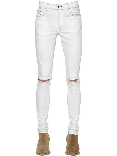 AMIRI 15cm Cotton Denim Slash Jeans Vintage White