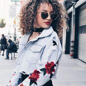 jacket,roses,embroidered,floral,denim,denim jacket,36683