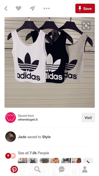 shirt adidas cute casual cropt tank top style scrapbook workout