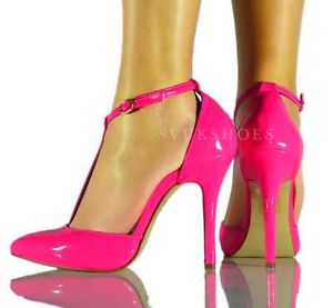 LADIES NEON PINK HIGH HEEL T BAR ANKLE STRAP SANDAL SIZE