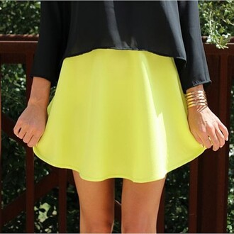 skirt divergence clothing neon tumblr fashion skater skirt neon skirt neon yellow streetstyle tumblr clothes
