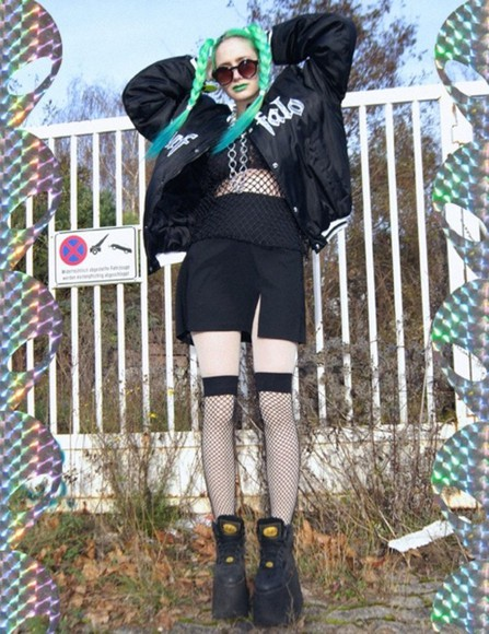 grunge fishnet shirt black goth hair platform shoes
