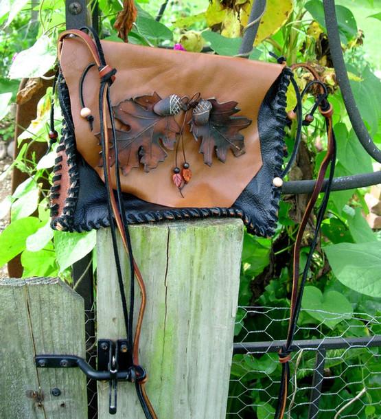 bag leather bag leather handmade oak leaf & acorn charm leaves fall outfits fashion fall outfits