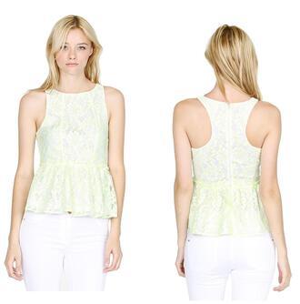 shirt racer back sleeveless peplum ruffle top spring