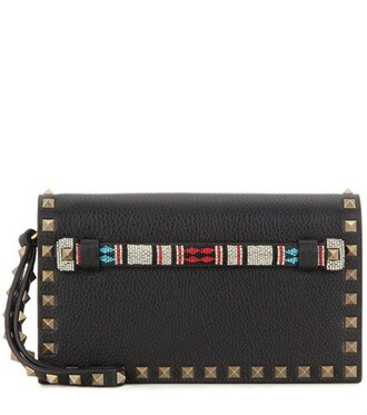 leather clutch embellished clutch leather black bag