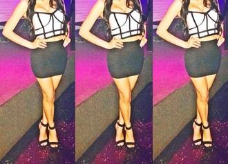 dress black white geometric