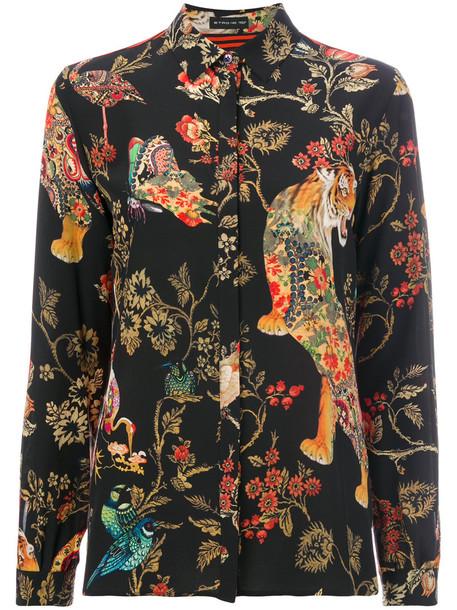 blouse women floral print silk top