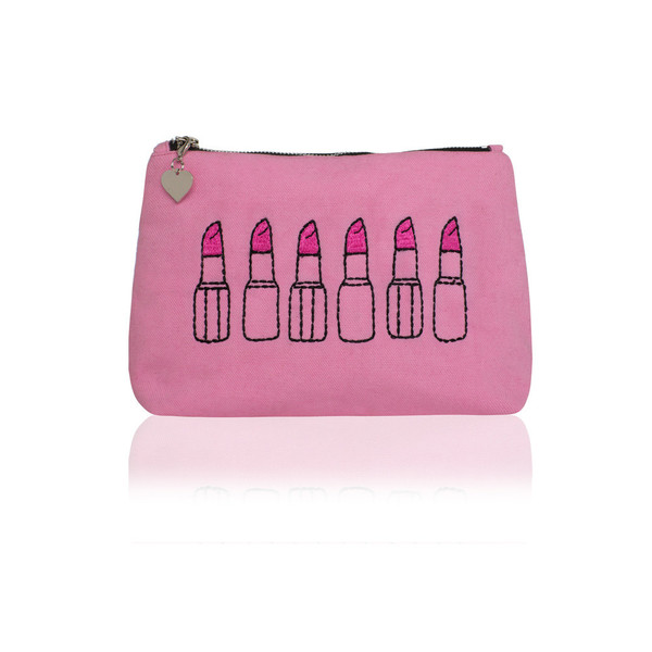 Pastel pink lipstick pouch