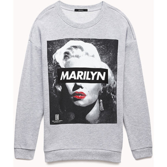 marilyn monroe black red lips sweater grey white