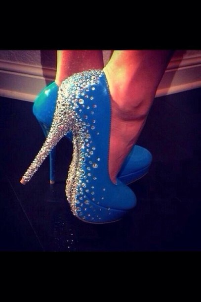 Shoes: diamond high heels blue high heels cute blue high heels