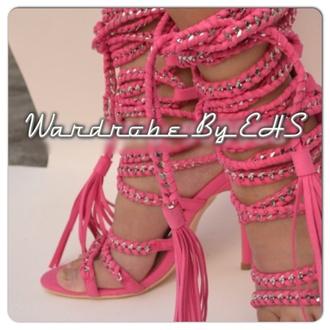 shoes summer shoes rope heels pink rope sandal pink rope heels