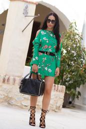 dress,floral dress,cold shoulder,shoes,bag