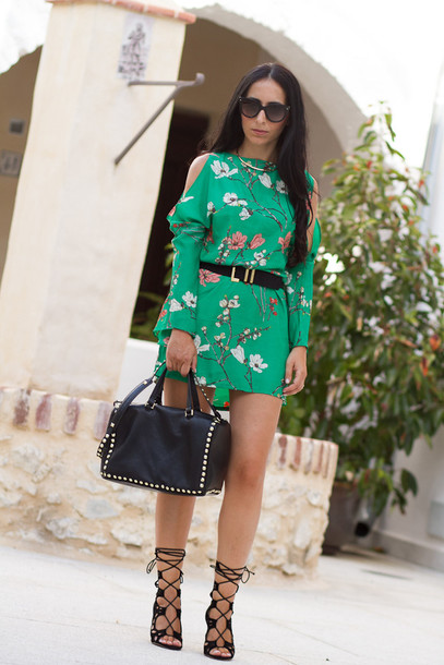 dress floral dress cold shoulder shoes bag