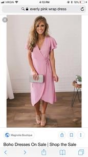 dress,everly,pink dress,pink,chiffon,wrap dress