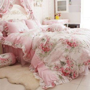 Amazon.com - FADFAY Home Textile, Romantic Rose Print Bedding Sets, Blue Pink Bedding Sets, Princess Lace Ruffle Bedding Set, Twin/Full/Queen/King Bedroom Set, 4Pcs Bed Set (Pink, 5ft bed) - Bedroom Furniture Sets