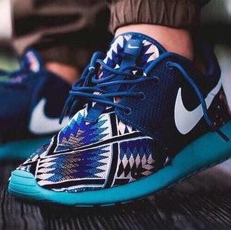 shoes blue tribal aztec roshe runs