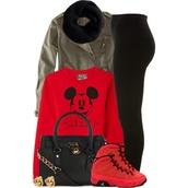 shoes,air jordan 9,mickey crop top,pants,shirt,black velvet legging