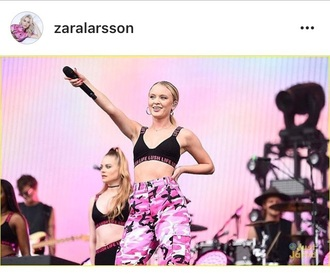 pants pink camouflage trackpants zara larsson