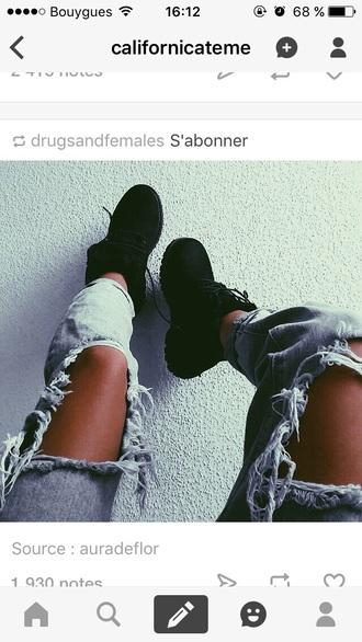 jeans blue jeans ripped jeans shoes black boots black shoes