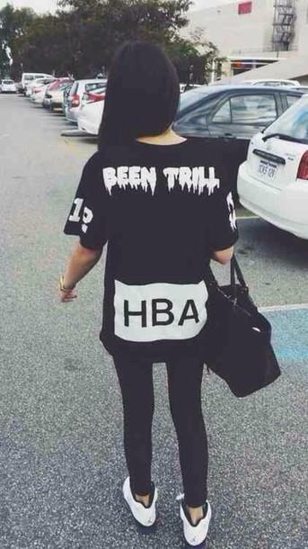 shirt shirt black white hba t-shirt white cute hba shirt outfit t-shirt