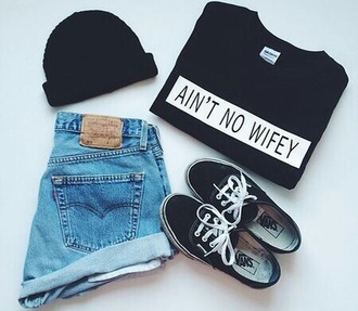 black jeans denim shorts beanie fashion casual style black and white vans ain't no wifey fall outfits teen