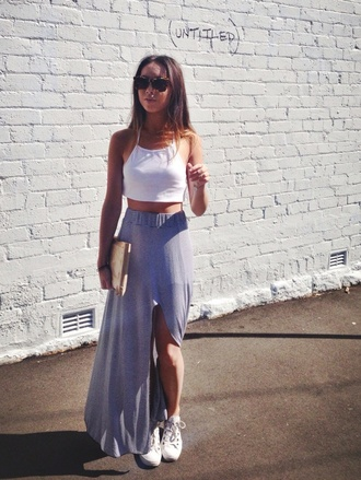 skirt cut-out tank top white t-shirt shirt front slit skirt maxi skirt blue long summer crop tops style street grey crop top