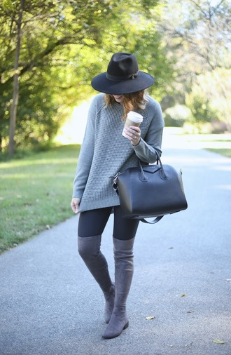 life & messy hair blogger shoes leggings bag sweater black hat long sleeves grey sweater black bag knee high boots suede boots