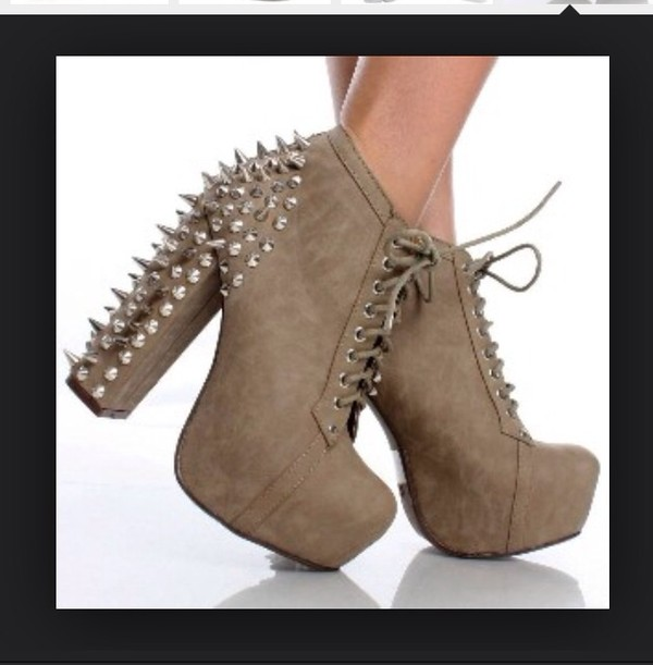 Spike Stud Lace Up Ankle Booties Chunky Platform High Heel Boots