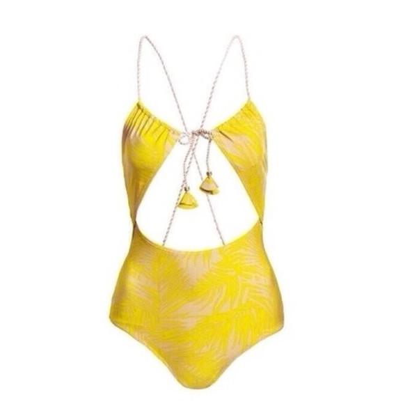 yellow swimwear cut-out swimsuit palmtree, beach, summer ibiza