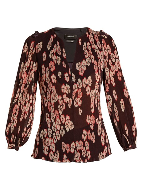 blouse pleated floral print purple top