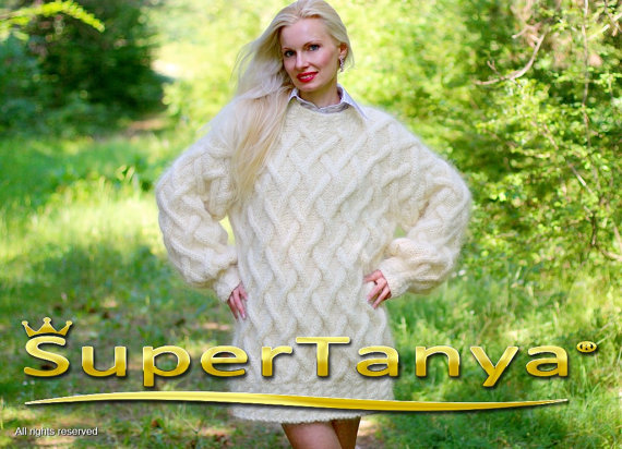 Extra thick ivory cream hand knitted mohair sweater by supertanya