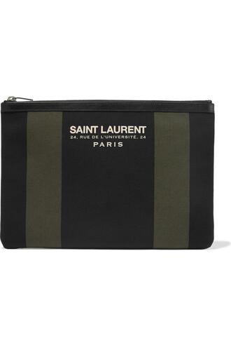 beach pouch leather cotton black bag