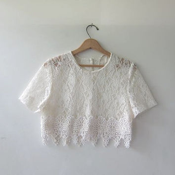 80s lace shirt. cropped lace top. cream lace blouse. short sleeve top. on Wanelo