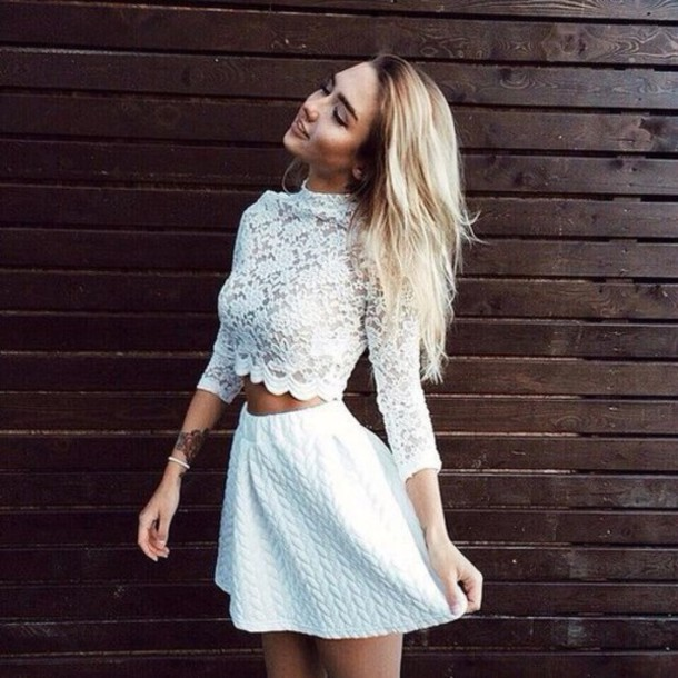 e8d0d191289 top, skirt, cute top, lace dress, lace top, tumblr outfit, tumblr ...
