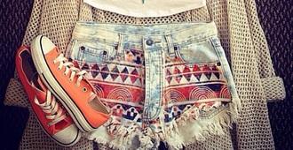 cardigan shorts shoes canvas orange aztec converse