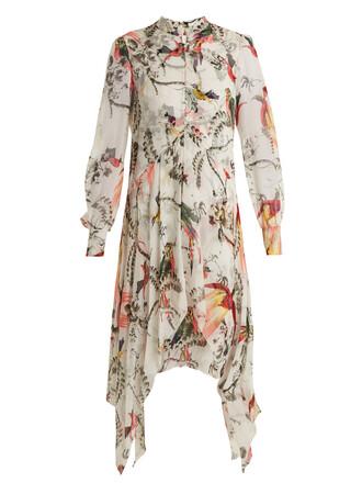 dress silk white print