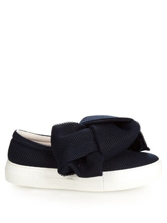 bow mesh navy shoes