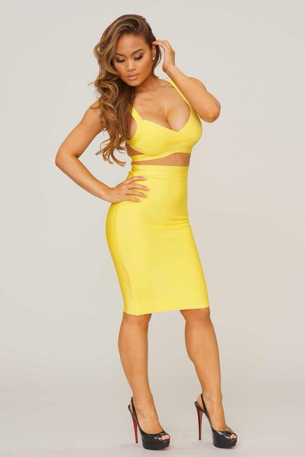 Sabrina 2 Piece Yellow Bandage Dress