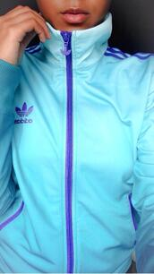 jacket,adidas tracksuit,adidas,addias jacket,cute outfits,cute,sexy,fashion,fall jacket,girly,girl,pastel,blue,sweater,purple and blue,adidas varsity jacket,teal,purple,zip up,sportswear,running jacket,coat,adidas jacket