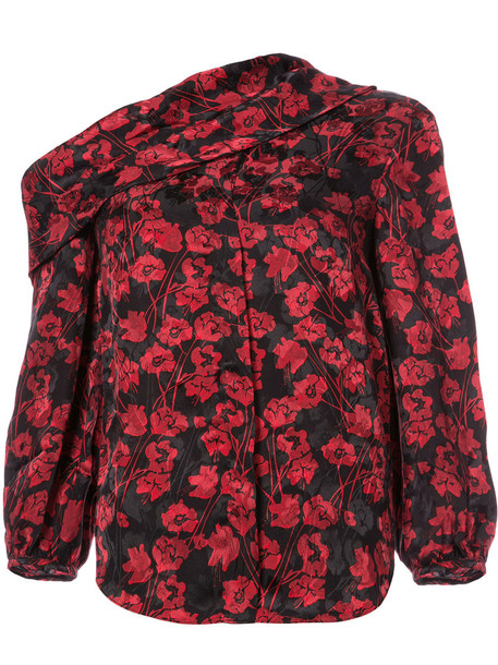 blouse women floral print silk red top