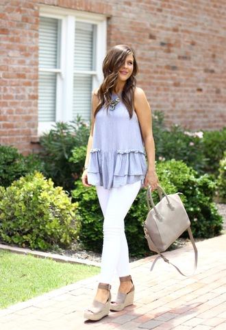 sophistifunk by brie bemis rearick | a personal style + beauty blog blogger top jeans shoes bag jewels grey bag handbag blue top espadrilles wedge sandals white pants summer outfits