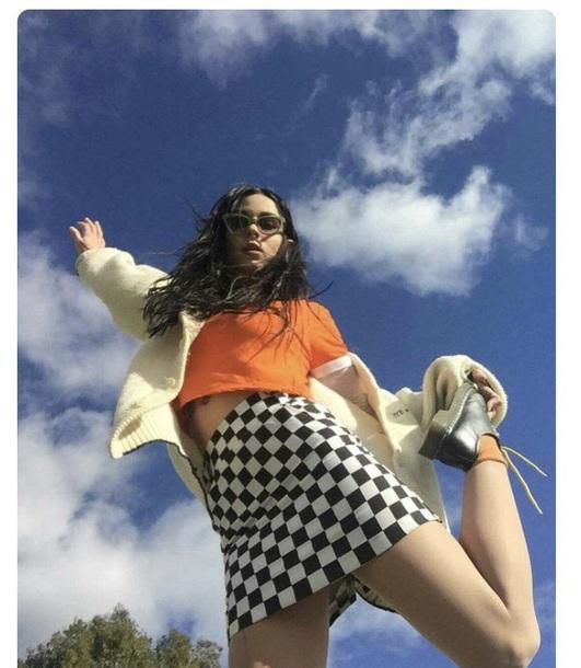skirt tight skirt checkered mini skirt checkered shirt