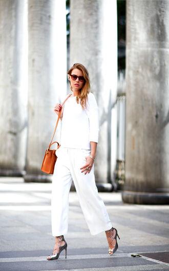 the fashion fruit blogger white sweater orange bag white pants wide-leg pants silver shoes