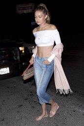 top,off the shoulder,crop tops,white,white top,gigi hadid,jeans,slide shoes,sandals,scarf,purse,choker necklace,jewels,shoes,jewelry,gigi hadid style,blush,blush pink,wrap choker,necklace,model,model off-duty