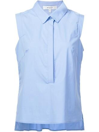 shirt sleeveless shirt sleeveless blue top