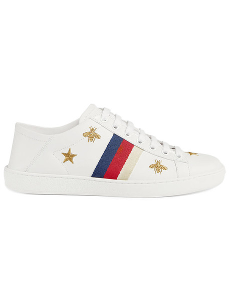 gucci women leather white stars shoes
