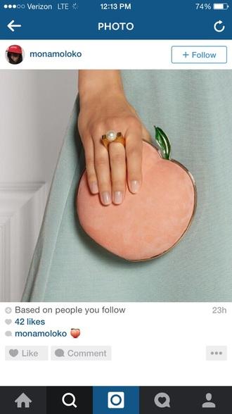 bag peach fruits clutch wallet purse handbag wristlet